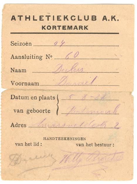 Aansluitingskaart van Daniël Decleir uit 1944