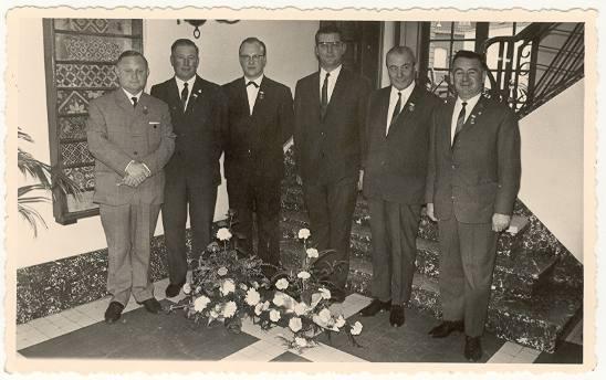 V.l.n.r. Roger Devriese, Ivo Denyft, Daniël Decleir, André Talpe, Dr. F. Boedt & August Jaques